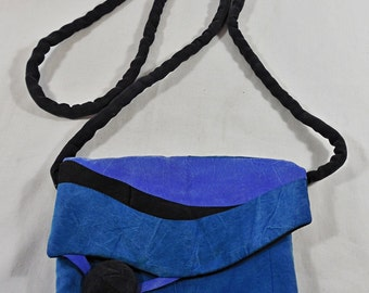 Vintage 1980's Retro Fabric Color Block Shoulder Crossbody Purse Handbag Satchel