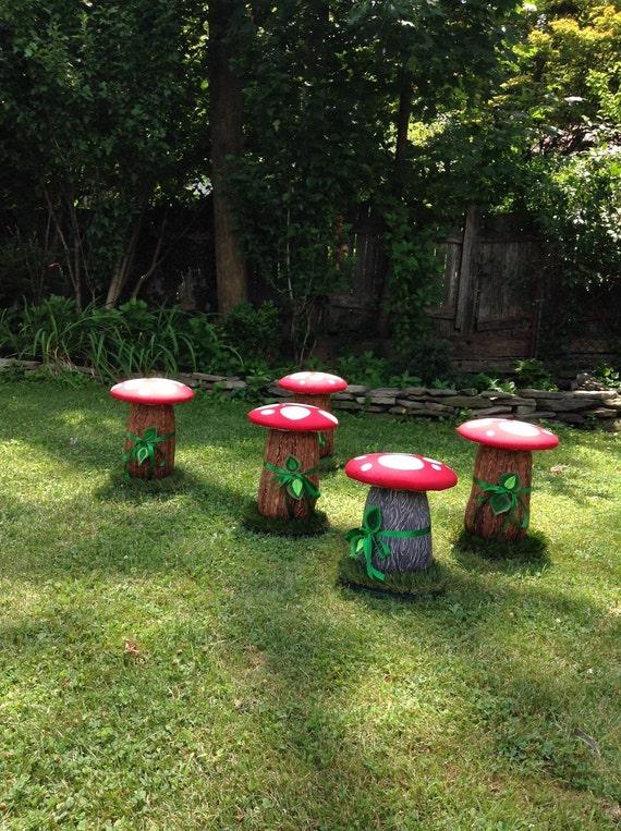 Mushroom Stools, Set of FOUR Toadstool Red Kids Seats, Woodland Step Stool, Mushroom Ottoman Stool Chair Toddler Red Mushroom Chair