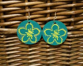 Hand painted earrings, wood earrings, statement earrings, for her, handmade earrings