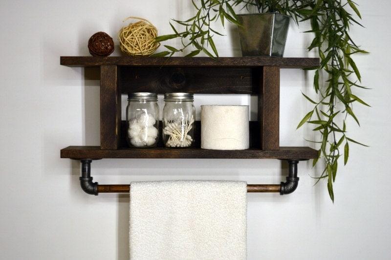 Two tier ladder bathroom shelf with towel bar - 2 tier bathroom shelf with towel bar ...