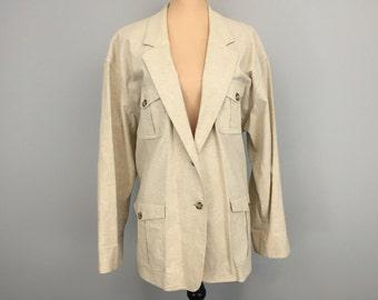 Womens Blazer Womens Jacket Linen Long Blazer Size 14 Blazer Beige Tan Jacket Business Jacket Boxy FREE SHIPPING Size Large Womens Clothing
