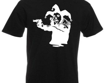 Mens T-Shirt with Banksy Street Art Graffiti Design / Joker Clown with Pistols Shirts / Jester Tee Shirt + Free Random Decal Gift