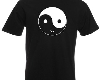 Mens T-Shirt with Yin and Yang Symbol Happy Face Design / Smile Ethical Symbol Shirts / Funny YingYang TShirt + Free Decal Gift