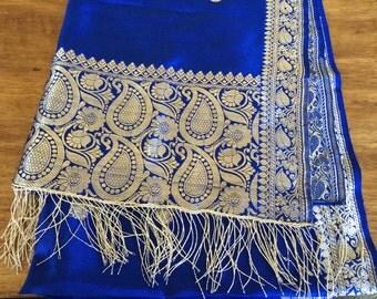 Vintage blue and gold silk shawl wrap
