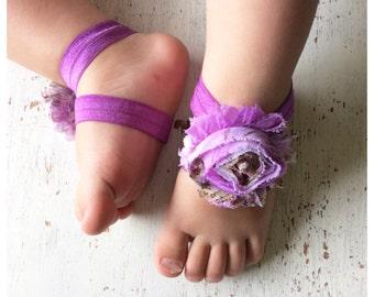 Barefoot sandals; baby barefoot sandals; purple floral sandal; toddler barefoot sandal; sandal