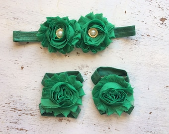 Baby headband and Barefoot sandals; baby barefoot sandals; green sandal; toddler barefoot sandal; sandal