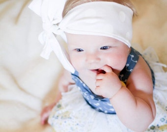 Baby headband; Rosie Wrap-headwrap; white dot fabric head wrap; newborn headband; baby headband; toddler headband; adult headband; girl head