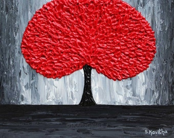 Red tree Art Print Abstract Artwork Red Grey Wall Art Modern tree painting Giclee Print Abstract tree  8x10, 11x14 print