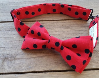 Toddler's Pre-tied Bow Tie (Red w/Black Polka Dots)
