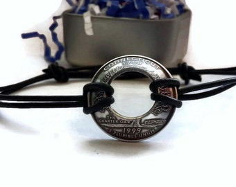 Adjustable State Quarter Bracelet - Silver