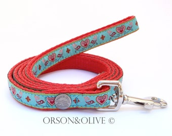 Birds of Paradise (Turquoise Red) Dog Lead Leash  - Available in 3 sizes XS/ S/ M