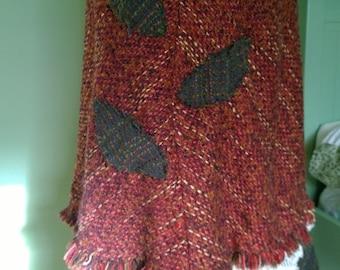Tweed Leaves upcycled skirt woodland Mori girl