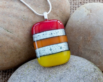 Silver Stripes Fused Glass Dichroic Pendant colourful bright summer summery gift girl woman girlfriend wife Valentine's Day Mother's Day