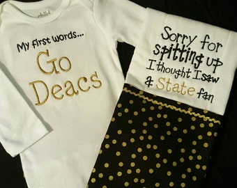 Inspired demon deacons body suit and burp cloth gift set