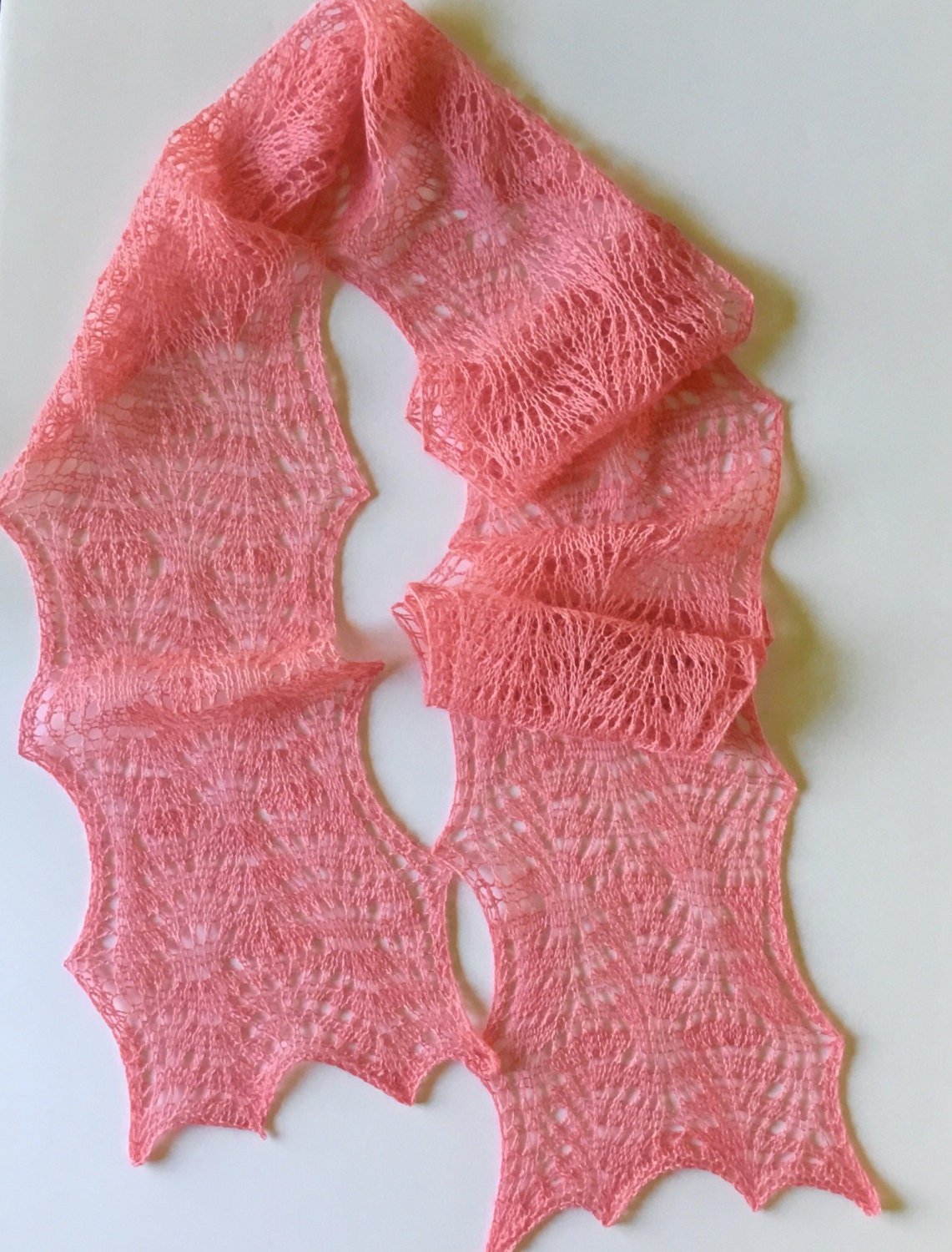 Knitting Summer Scarves : Summer knit scarf pink lace merino silk