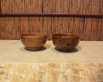 Vintage Japanese Wooden Rice Bowl Set of 2