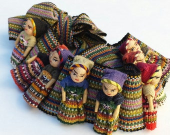Guatemalan Doll Belt~Mayan Worry Dolls~Hand Woven Fabric~12 Hand Sewn Dolls~Fabric & Dolls to Re-purpose~Collectible Dolls
