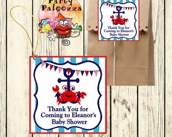 Printable Personalized Nautical Baby Shower tag