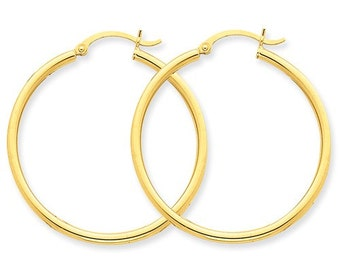 14K Yellow Gold Round Hoop Lightweight Earrings 35mm x 2mm CKLT913L