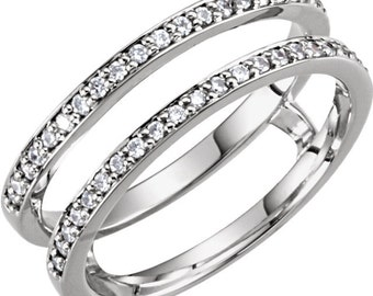 14k white gold 15 ctw diamond ring guard enhancer size 6 ckl122245 - Wedding Ring Guard