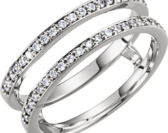 14k white gold 15 ctw diamond ring guard enhancer size 6 ckl122245 - Wedding Ring Guards