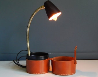 Vintage Portable Travel Lamp/ Hi-Intensity Executive and Travel Lamp/Lamp in Leather Case/Adjustable Task Lamp/1967