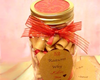 52 Reasons why I love you Mom - 52 reasons in a jar - gift for mom - mothers day gift - mothers day jar - mothers day gift idea - girlfriend