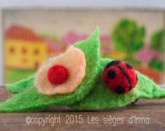 Cute Ladybug and Leaf and Flowers Handmade Wet and needle Felted Hair Clip Bow