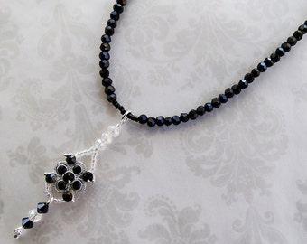 Black Necklace, Crystal Necklace, Bridal Necklace, Wedding Necklace, Swarovski Necklace, Jewelry Gifts, Statement Necklace, Silver Necklace