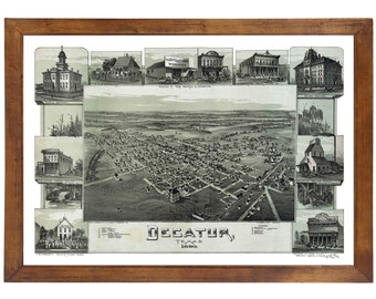Decatur, TX 1890 Bird's Eye View; 24x36 Print from a Vintage Lithograph