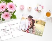 Photo Elopement Announcement Postcard,  Photo Marriage Announcement Postcard, Elopement Announcement, Marriage Announcement