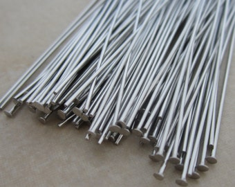 50 stainless steel headpins 3 inches 21 gauge