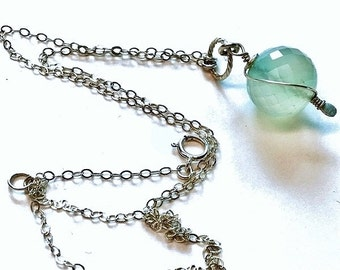925 Sterling silver chalcedony necklace pendant with chain,wire wrapped, chalcedony necklace,chalcedony jewelry, boho, bohemian,