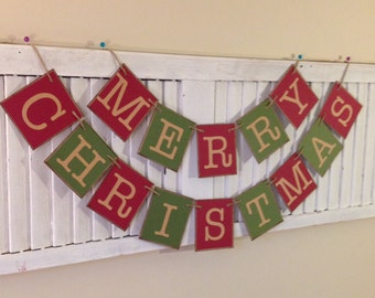 Merry Christmas Banner Sign Garland Primitive Red and Green Bunting