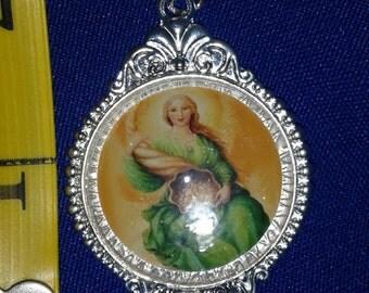 Abundia The Angel of Abundance Blessings silver plated medal