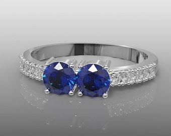10k white gold two stone promise ring, 4mm round Blue Sapphire ring, wedding ring, engagement ring, anniversary ring, special orders,AKR-497