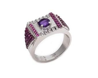 Men's Ring 925 Sterling Silver Ruby and Amethyst Gemstone Men's Ring