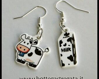 Milk Cow Earrings Cartoon Funny
