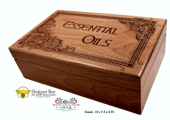 Beautiful Engraved Essential Oil Storage Box - Made in USA