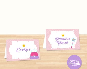 Personalized Princess Party food label tent (digital file)