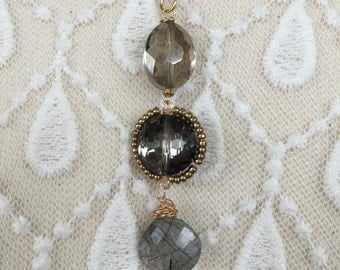 Crystal and variegated quartz necklace with gold filled chain