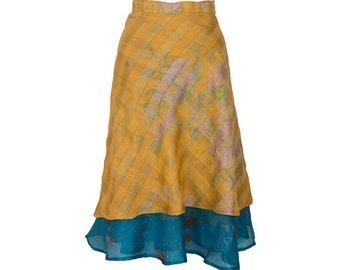 Reversible **SALE**, Silk Wrap Skirt Yellow Skirt, Long Skirt, Boho Chic Skirt, Boho Skirt, Plus Size Skirt, Wrap Skirt, Silk Skirt