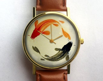 Japanese Koi Watch, Ladies Watch, Men's Watch, Vintage Fish, Unisex Watch, Modern, Geometric, Analog, Gift Idea