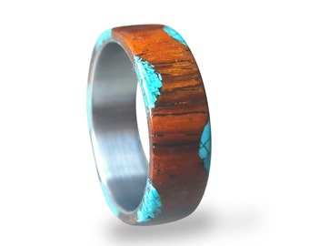Titanium Ring with Cocobolo Wood and Turquoise Inlays, Bohemian Jewelry, Boho Ring, Wooden Ring