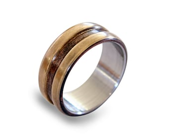 Stainless steel ring with patina copper and bronze