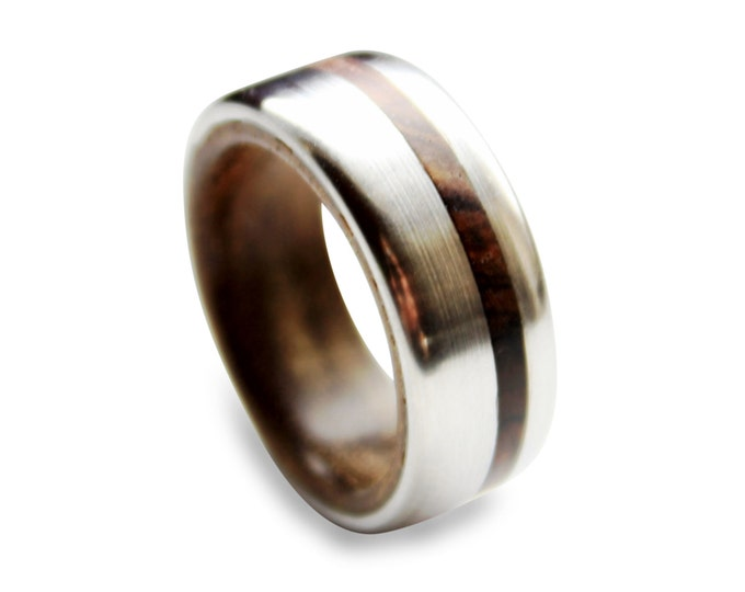 Titanium men ring with tropical ironwood inner and cocobolo wood inlay