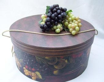 Designer Raymond Waites Large Hat Box, Once Upon a Time, Large Dark Brown,Fruit Design