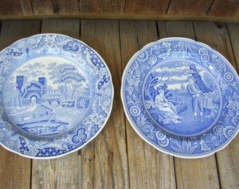 spode blue room collection the woodsman or the castle pattern england ironstone archive collection