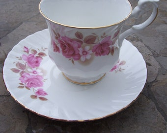 Pink Rose Teacup and Saucer,Royal Dover China,Made in England