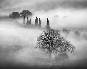 Sleepy Hollow, Tuscany, Italy, Morning Fog, Tuscan Countryside, Belvedere, Val d'Orcia, Black, White - Travel Photography, Print, Wall Art